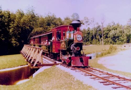 Image of new Fort Wilderness Train on trestle.