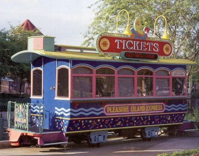 Image of Fort Wilderness cars used as ticket booths.